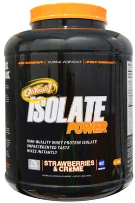 Suplementos, Proteína De Suero, Entrenamiento Oh Yeah!, OhYeah! Isolate Power Strawberries & Creme, 4 lbs (1814 g)