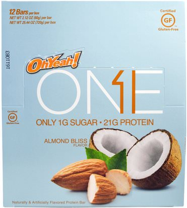 Deportes, Barras De Proteína Oh Yeah!, One Bar, Almond Bliss, 12 Bars, 2.12 oz (60 g) Each