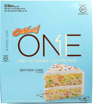 Deportes, Barras De Proteína Oh Yeah!, One Bar, Birthday Cake, 12 Bars, 2.12 oz (60 g) Each