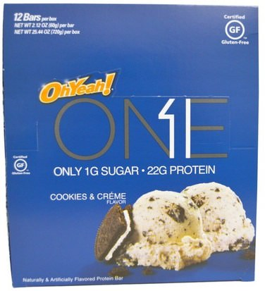 Deportes, Barras De Proteína Oh Yeah!, One Bar, Cookies & Cream, 12 Bars, 2.12 oz (60 g) Each
