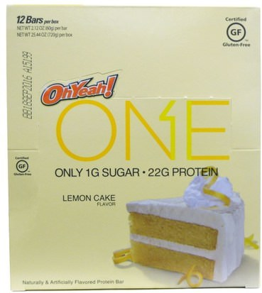 Deportes, Barras De Proteína Oh Yeah!, One Bar, Lemon Cake Flavor, 12 Bars, 2.12 oz (60 g) Each