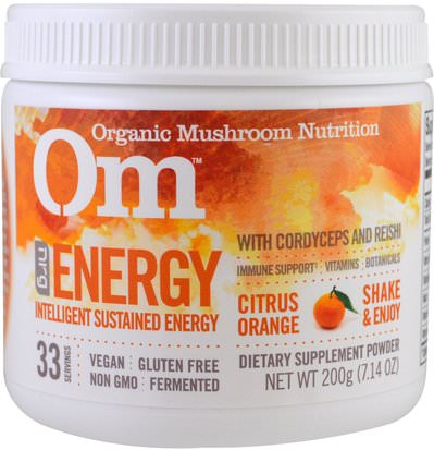 Salud, Energía, Gripe Fría Y Virus, Sistema Inmune Organic Mushroom Nutrition, Energy, Mushroom Powder, Citrus Orange, 7.14 oz (200 g)