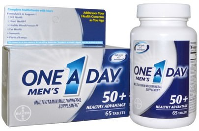 Vitaminas, Multivitaminas - Personas Mayores, Hombres Multivitaminas One-A-Day, Mens, 50+ Healthy Advantage, Multivitamin/Multimineral Supplement, 65 Tablets