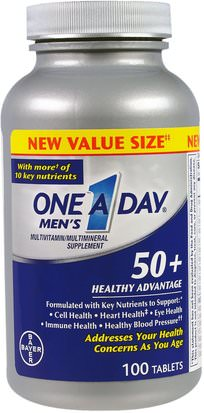 Vitaminas, Multivitaminas - Personas Mayores, Hombres Multivitaminas One-A-Day, Mens 50+, Healthy Advantage, Multivitamin/Multimineral Supplement, 100 Tablets