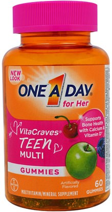 Vitaminas, Multivitaminas, Niños Multivitaminas One-A-Day, One A Day for Her, VitaCraves, Teen Multi, 60 Gummies