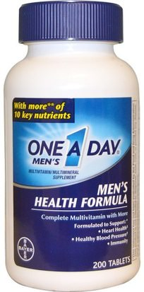 Vitaminas, Hombres, Multivitaminas One-A-Day, One A Day Mens, Mens Health Formula, Multivitamin/Multimineral, 200 Tablets