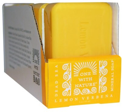 Baño, Belleza, Jabón, Baño De Argán One with Nature, Dead Sea Mineral Soap, Lemon Verbena, 6 Bars, 4 oz Each