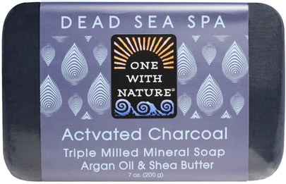 Baño, Belleza, Jabón One with Nature, Triple Milled Mineral Soap, Actvated Charcoal, 7 oz (200 g)
