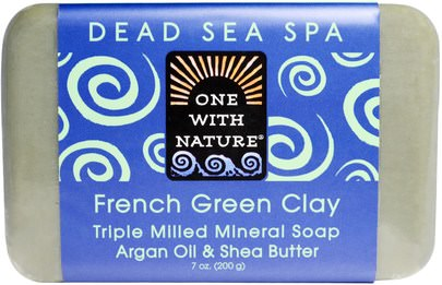Baño, Belleza, Jabón One with Nature, Triple Milled Mineral Soap, French Green Clay, 7 oz (200 g)