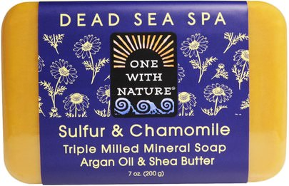 Baño, Belleza, Jabón One with Nature, Triple Milled Mineral Soap, Sulfur & Chamomile, 7 oz (200 g)