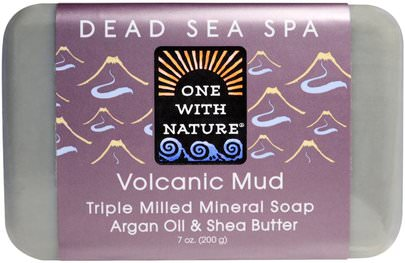 Baño, Belleza, Jabón One with Nature, Triple Milled Mineral Soap, Volcanic Mud, 7 oz (200 g)