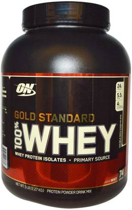 Deportes Optimum Nutrition, Gold Standard, 100% Whey, Double Rich Chocolate, 5 lbs (2,27 kg)