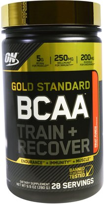 Deportes Optimum Nutrition, Gold Standard, BCAA Train + Recover, Fruit Punch, 9.9 oz (280 g)