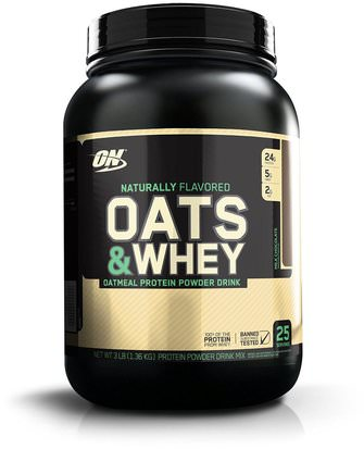 Deportes Optimum Nutrition, Oats & Whey, Milk Chocolate, 3 lbs (1.36 kg)