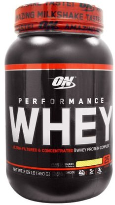 Deportes Optimum Nutrition, Performance Whey, Vanilla Shake, 2.09 lb (950 g)