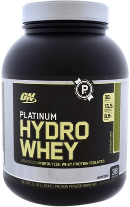 Deportes Optimum Nutrition, Platinum Hydro Whey, Chocolate Mint, 3.5 lb (1.59 kg)