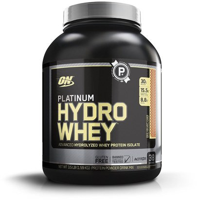 Deportes Optimum Nutrition, Platinum Hydro Whey, Red Velvet Cake, 3.5 lbs (1.59 kg)