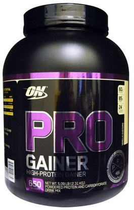 Deportes Optimum Nutrition, Pro Gainer, Vanilla Custard, 5.09 lbs (2.31 kg)