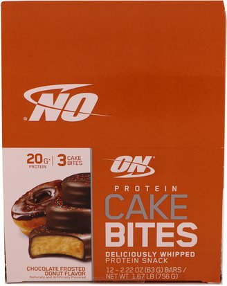 Deportes Optimum Nutrition, Protein Cake Bites, Chocolate Frosted Donut, 12 Bars, 2.22 oz (63 g) Each