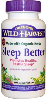 Suplementos, Dormir Oregons Wild Harvest, Sleep Better, 90 Non-GMO Veggie Caps