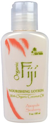 Baño, Belleza, Loción Corporal Organic Fiji, Nourishing Lotion with Organic Coconut Oil, Awapuhi Seaberry, 3 oz (89 ml)