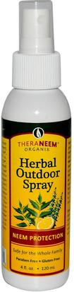 Repelente Para Insectos, Insectos Y Hogar Organix South, TheraNeem Organix, Herbal Outdoor Spray, 4 fl oz (120 ml)