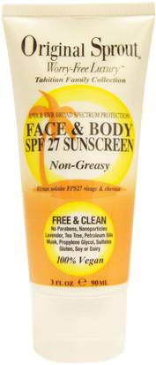 Baño, Belleza, Protector Solar, Spf 05-25 Original Sprout Inc, Face and Body SPF 27 Sunscreen, Non Greasy, 3 fl oz (90 ml)