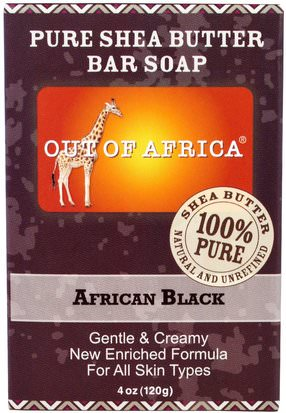 Baño, Belleza, Jabón, Jabón Negro Out of Africa, Pure Shea Butter Bar Soap, African Black, 4 oz (120 g)