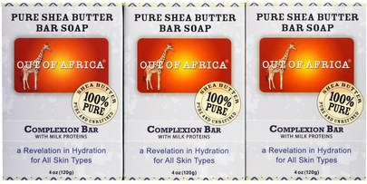 Baño, Belleza, Jabón Out of Africa, Pure Shea Butter Bar Soap, Complexion Bar with Milk Proteins, 3 pack, 4 oz (120 g) Each