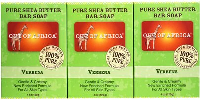 Baño, Belleza, Jabón Out of Africa, Pure Shea Butter Bar Soap, Verbena, 3 Pack, 4 oz (120 g) Each