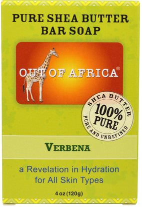 Baño, Belleza, Jabón Out of Africa, Pure Shea Butter Bar Soap, Verbena, 4 oz (120 g)