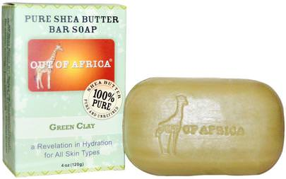 Baño, Belleza, Jabón, Manteca De Karité Out of Africa, Pure Shea Butter Soap, Green Clay, 4 oz (120 g)