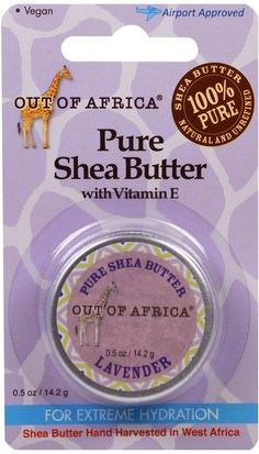 Baño, Belleza, Manteca De Karité Out of Africa, Pure Shea Butter with Vitamin E, Lavender, 0.5 oz (14.2 g)