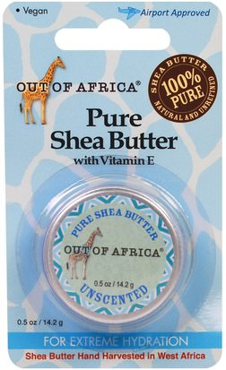 Baño, Belleza, Manteca De Karité Out of Africa, Pure Shea Butter with Vitamin E, Unscented, 0.5 oz (14.2 g)