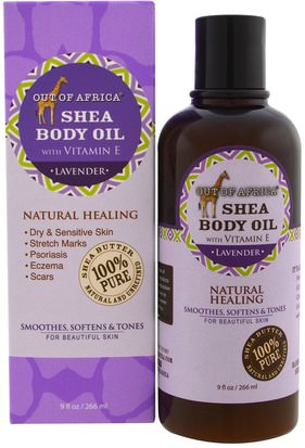 Baño, Belleza, Manteca De Karité, Piel, Aceite De Masaje Out of Africa, Shea Body Oil, with Vitamin E, Lavender, 9 fl oz (266 ml)