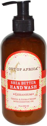 Baño, Belleza, Jabón Out of Africa, Shea Butter Hand Wash, Geranium, 8 oz (230 ml)