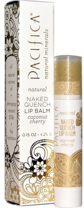 Baño, Belleza, Cuidado Labial, Bálsamo Labial Pacifica, Naked Quench Lip Balm, Coconut Cherry, 0.15 oz (4.25 g)