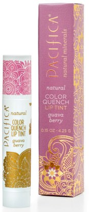Baño, Belleza, Lápiz Labial, Brillo, Liner Pacifica, Natural Color Quench Lip Tint, Guava Berry, 0.15 oz (4.25 g)