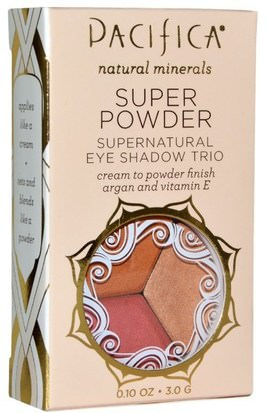 Baño, Belleza, Maquillaje, Sombra De Ojos Pacifica, Super Powder Supernatural Eye Shadow Trio, Shades: Breathless, Glowing, Sunset, 0.10 oz (3.0 g)