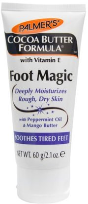 Baño, Belleza, Pie Cremas Palmers, Cocoa Butter Formula, Foot Magic, with Peppermint Oil & Mango Butter, 2.1 oz (60 g)