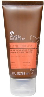 Baño, Belleza, Cremas Para Manos Pangea Organics, Hand Cream, Chilean Rosehip with Tamanu & Red Clover, 3 fl oz (88 ml)