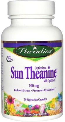 Suplementos, L Theanine Paradise Herbs, Optimized Sun Theanine, 100 mg, 30 Veggie Caps