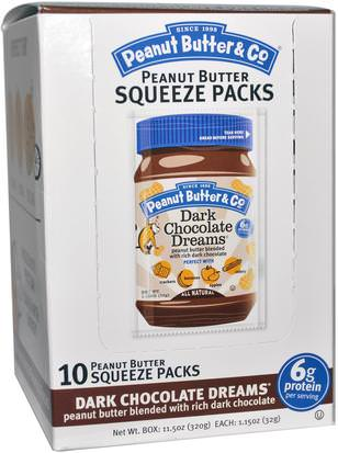 Comida, Mantequilla De Maní Peanut Butter & Co., Squeeze Packs, Dark Chocolate Dreams Peanut Butter, 10 Per Box, 1.15 oz (32 g) Each