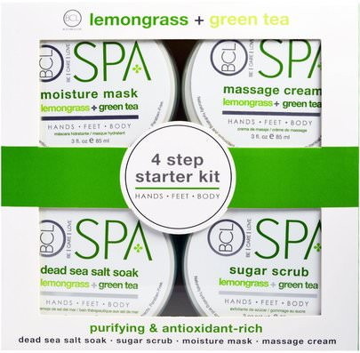Baño, Belleza, Juegos De Regalo, Cremas Para Manos Petal Fresh, BCL Spa, 4 Step Starter Kit, Purifying and Antioxidant Rich, Lemongrass + Green Tea, 4 - 3 fl oz (85 ml) Each