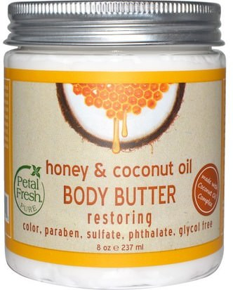 Salud, Piel, Mantequillas Para El Cuerpo Petal Fresh, Body Butter, Restoring, Honey & Coconut Oil, 8 oz (237 ml)