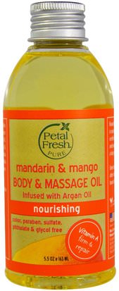 Salud, Piel, Aceite De Masaje, Baño, Belleza, Aceites Esenciales De Aromaterapia, Aceite De Mandarina Petal Fresh, Pure, Body & Massage Oil, Nourishing, Mandarin & Mango, 5.5 oz (163 ml)
