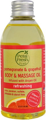 Salud, Piel, Aceite De Masaje Petal Fresh, Pure, Body & Massage Oil, Refreshing, Pomegranate & Grapefruit, 5.5 oz (163 ml)