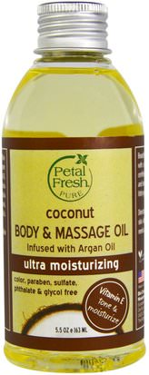 Baño, Belleza, Aceite De Argán, Piel De Aceite De Coco Petal Fresh, Pure, Coconut Body & Massage Oil, Ultra Moisturizing, 5.5 oz (163 ml)