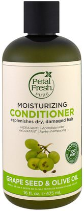 Baño, Belleza, Cabello, Cuero Cabelludo, Champú, Acondicionador, Acondicionadores Petal Fresh, Pure, Moisturizing Conditioner, Grape Seed & Olive Oil, 16 fl oz (475 ml)