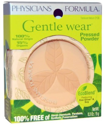 Baño, Belleza, Maquillaje, Polvo Compacto Physicians Formula, Inc., Gentle Wear, Pressed Powder, Translucent Medium, 0.3 oz (9 g)